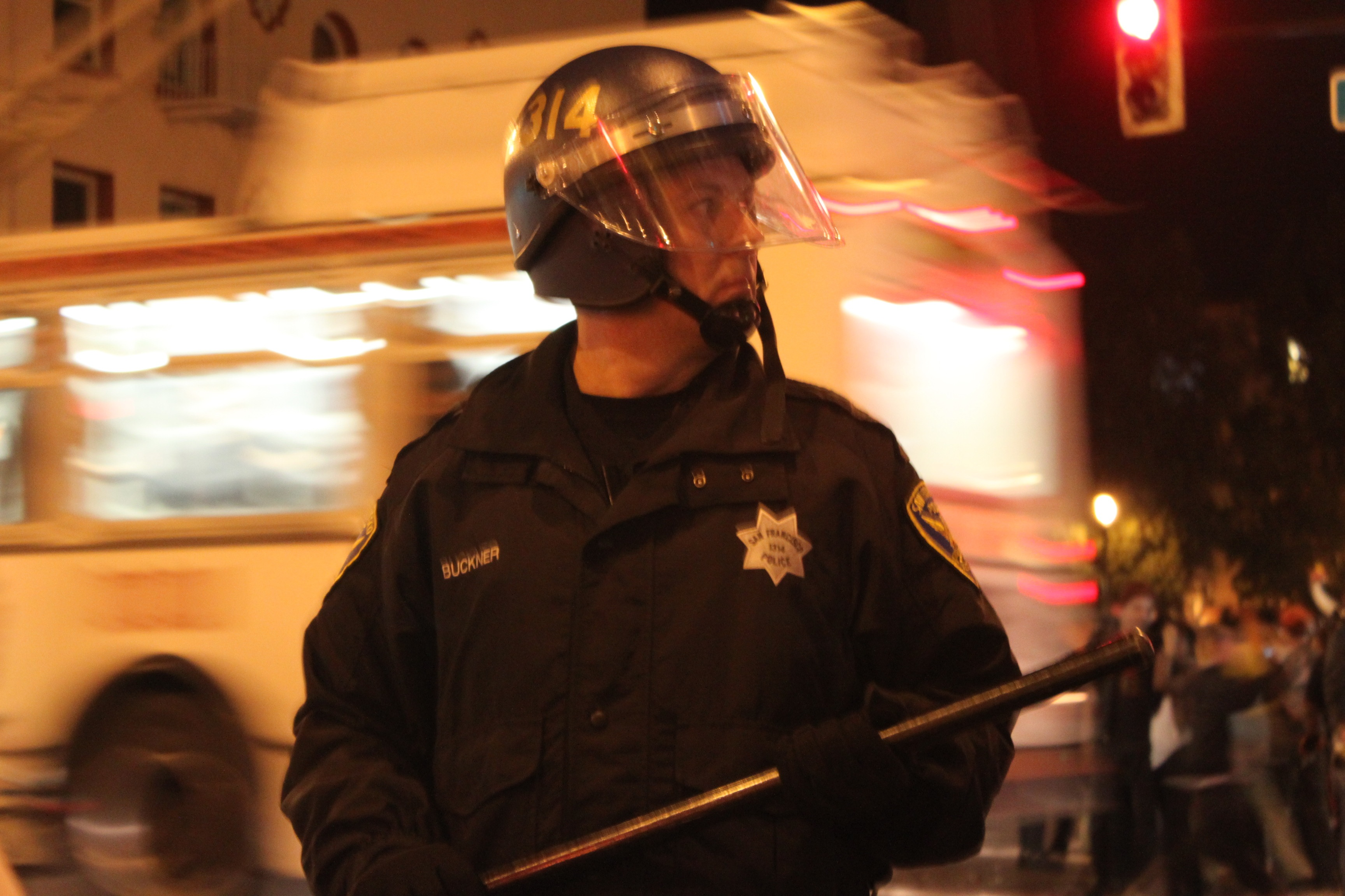 Police with stick