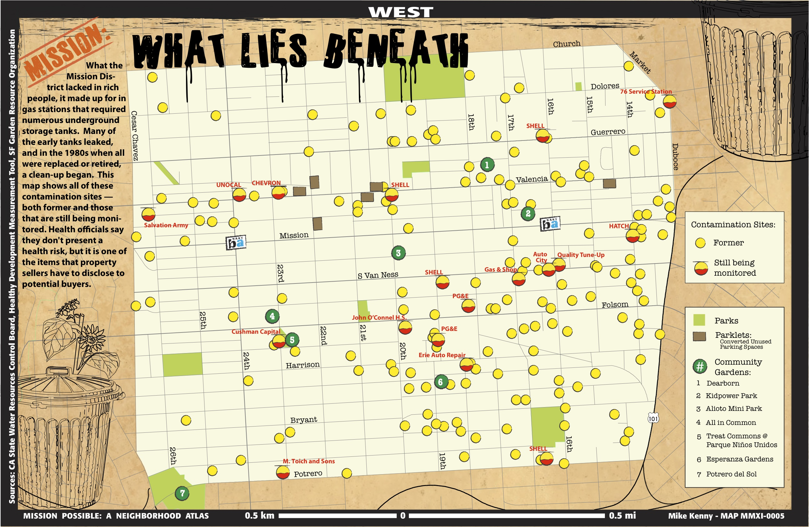 a map showing contaminated sites