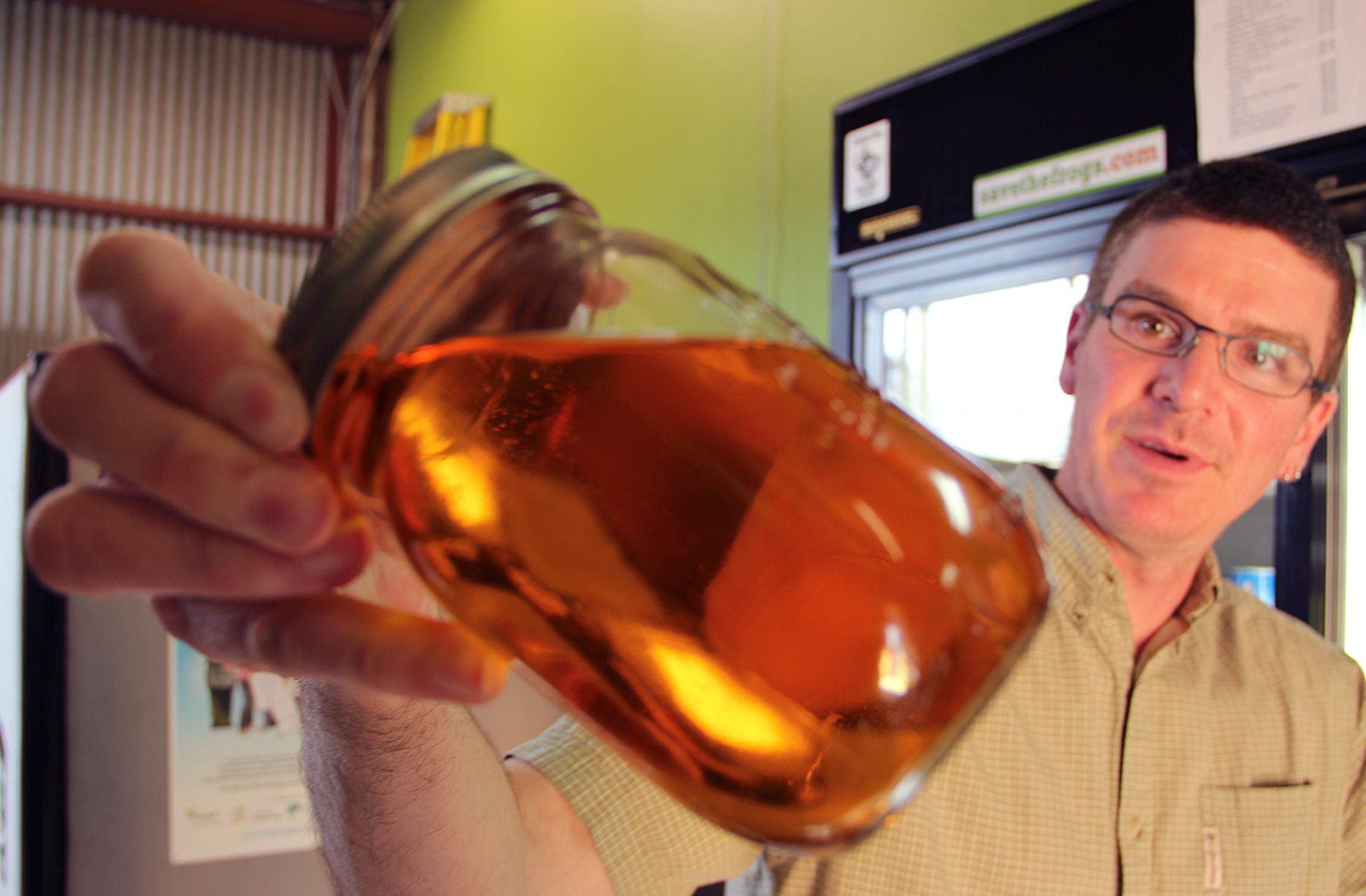 Andrew Pannell with a biodiesel sample