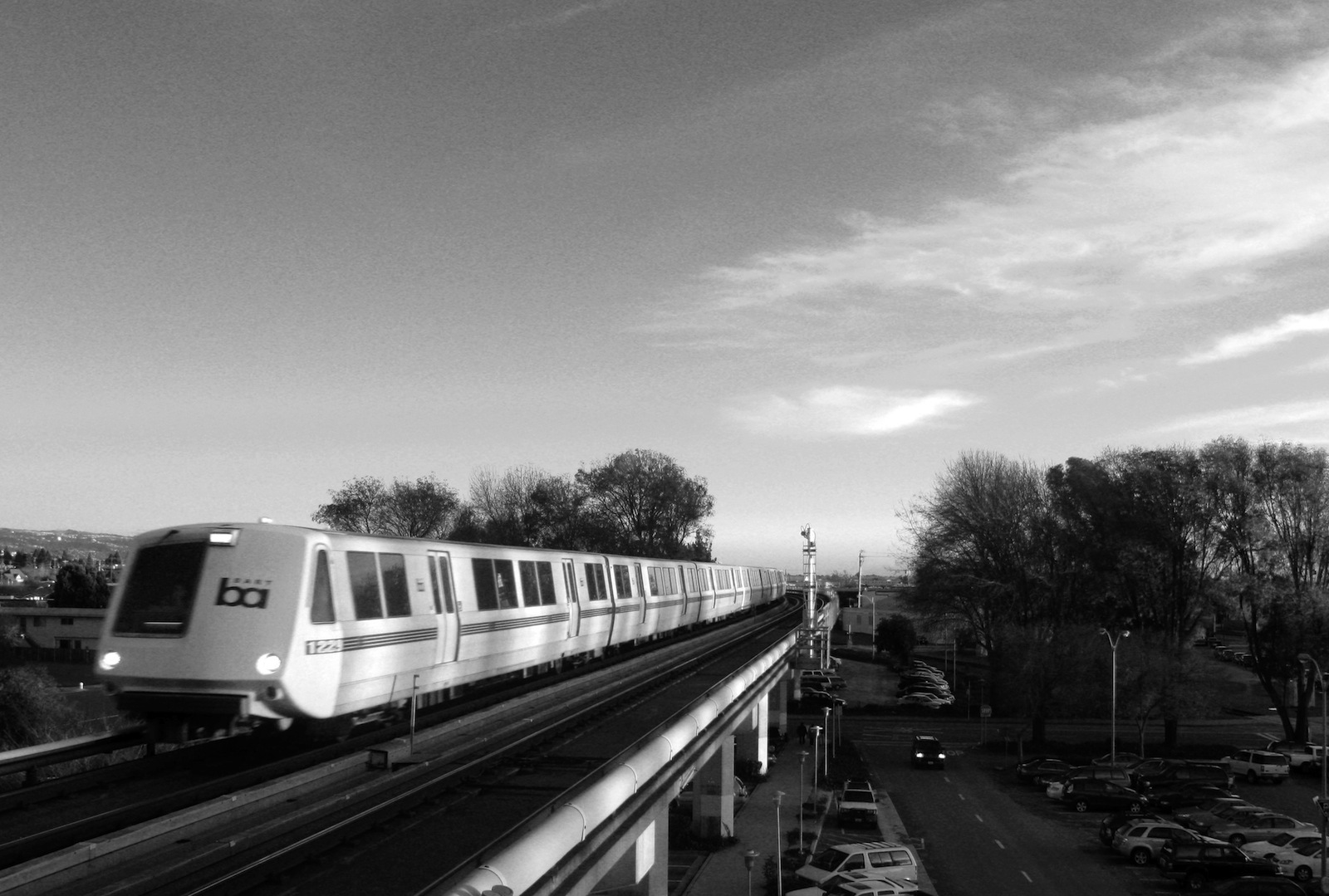 Black and white photo of BART train.