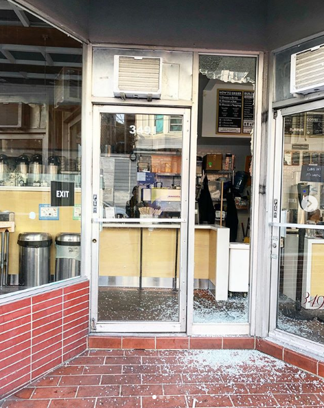 Smashed windows at Boba Guys