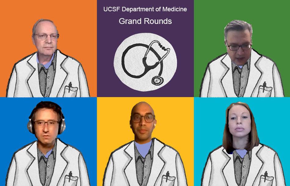 (FOTO) Evento Grand Rounds del Departamento de Medicina de la UCSF del 30 de abril de 2020 incluyeron a (desde la izquierda superior): el Dr. Bob Wachter, el Dr. Amir Jaffer, el Dr. Alexander Smith, el Dr. Sanjay Reddy y la Dra. Carly Zapata. Ilustración de Molly Oleson; fotos de las capturas de pantalla del evento en vivo.