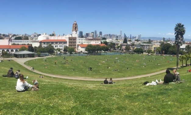 Circles dot Dolores Park to promote physical distancing