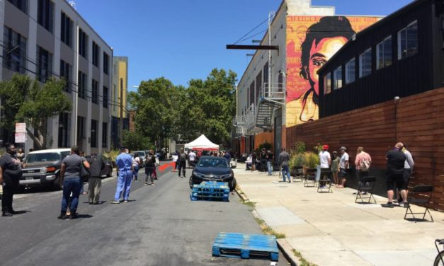 Residents line up to be tested at new Mission District COVID-19 mobile testing site