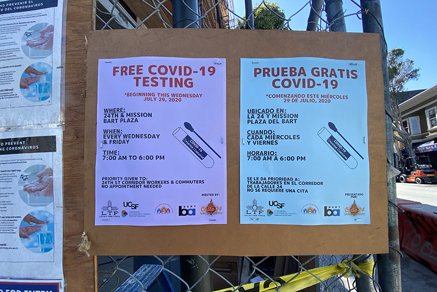 UCSF, Latino Task Force launch testing site at 24th Street BART
