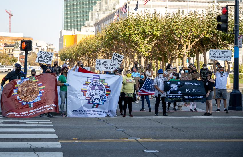 Essential workers protest at City Hall in Sept. 2020