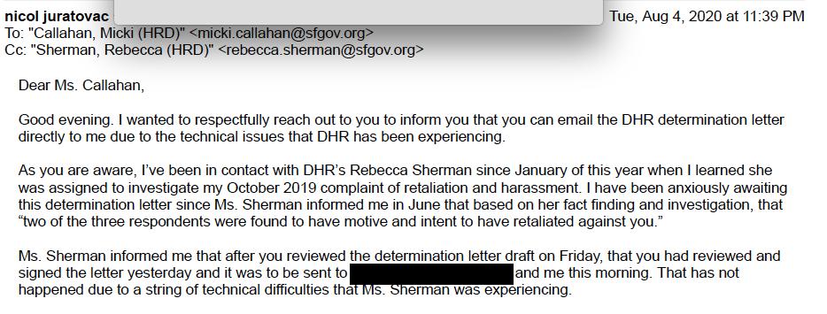 Email regarding Rebecca Sherman