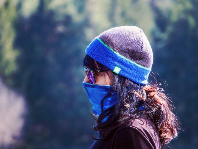 Woman with coronavirus mask