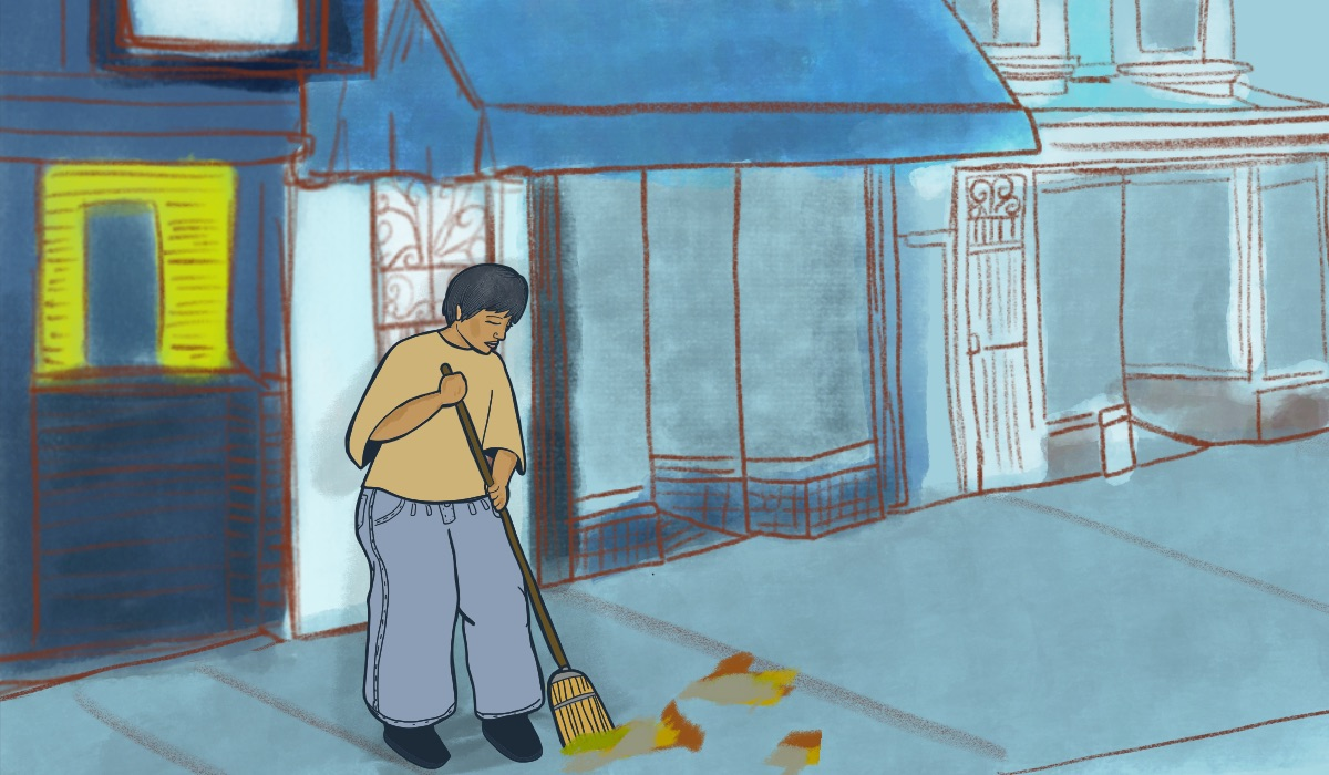 An illustration of Jackie sweeping the street.