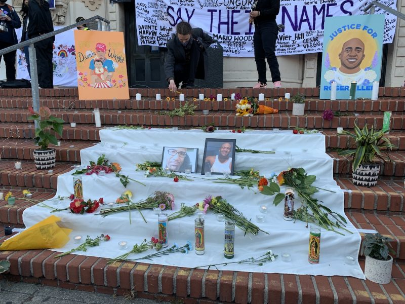 An alter on the steps of Mission High School for Daunte Wright and Roger Allen. Photo by Julian Mark