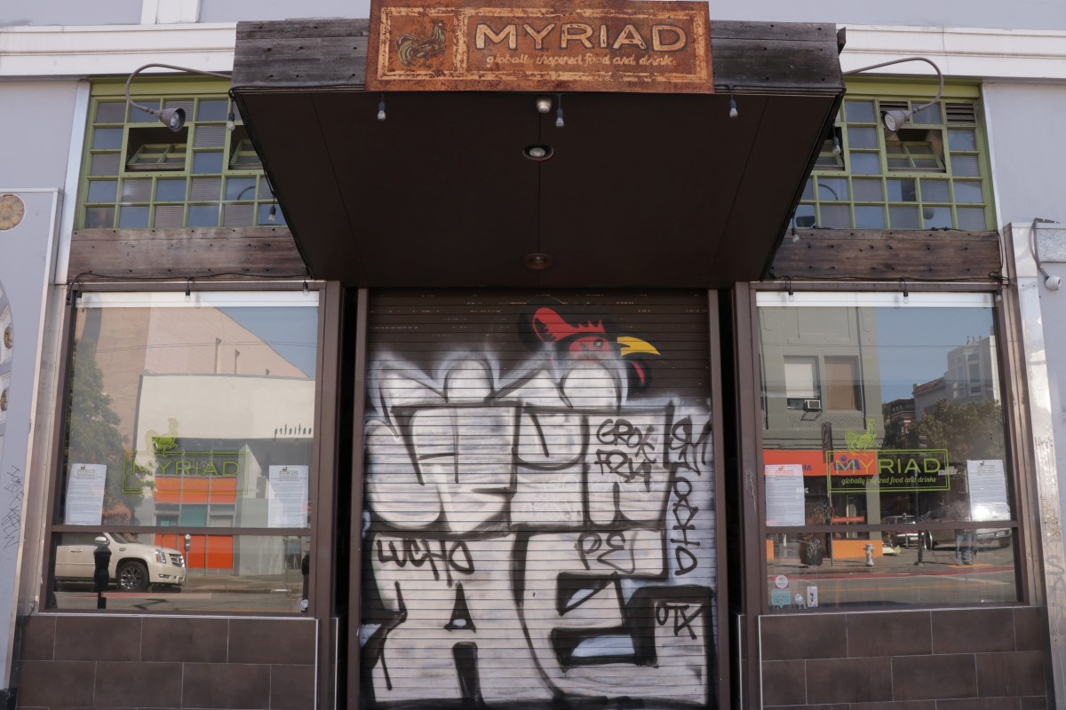 The Myriad Gastropub storefront on 21st and Mission streets.