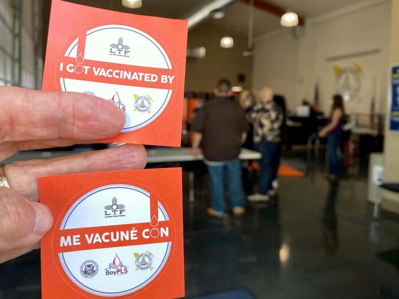 Vaccination stickers that will be handed out at the new Shotwell vaccination site on Thursday.