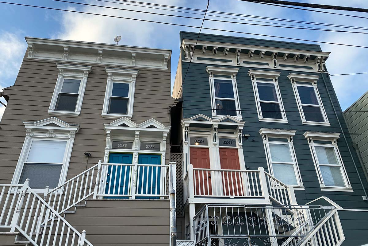 On 22nd Street, two colored doors.