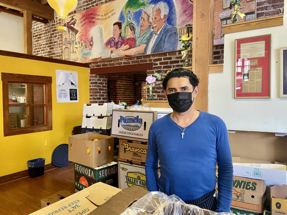 Omar Romero, nutritionist at Centro Latino in San Francisco where he gives away food at the community center.