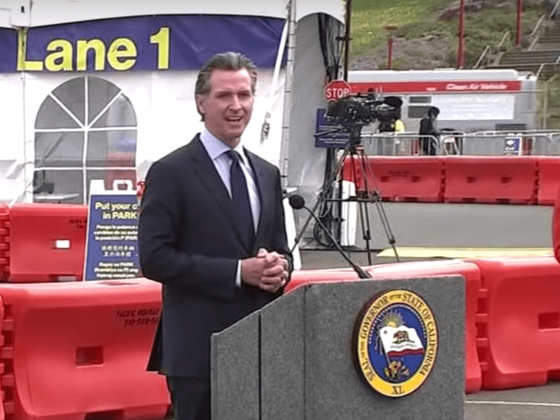 Gov. Gavin Newsom announced Tuesday that the state will fully reopen on June 15. Screenshot: Kate Selig/MISSION LOCAL