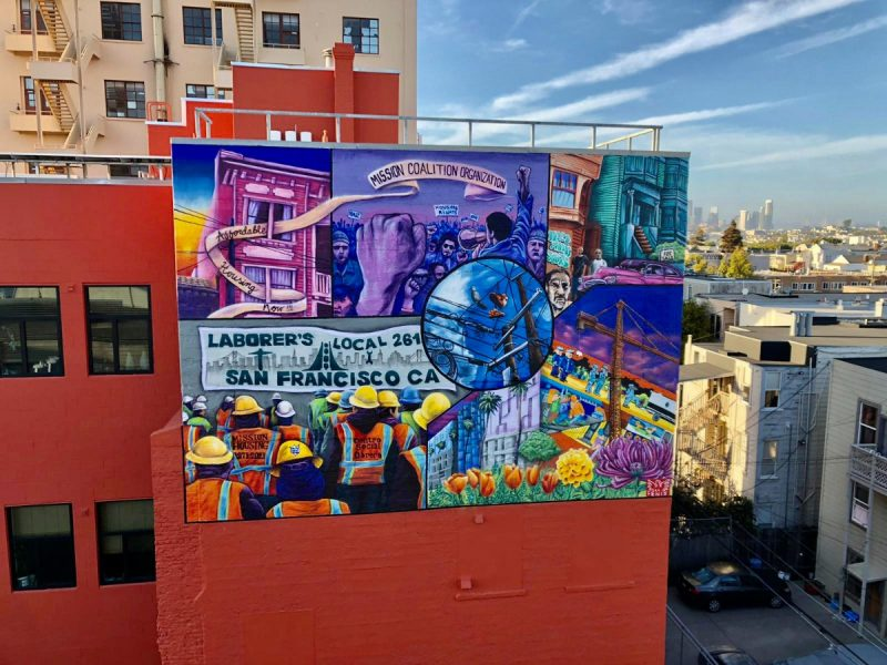 """Working Class For An Affordable Mission"" ⁣ ⁣ Directed and designed Lucia Gonzalez Ippolito. Painted by Pancho Pescador and Pablo Ruiz Arroyo.⁣ ⁣⁣ Sponsored by Mission Housing Development Corporation to commemorate 50 years of serving the community (1971-2021). ⁣"