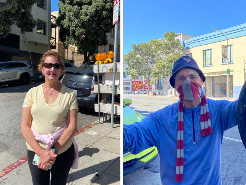 "Deb, 68, was not wearing a mask when exercising on Valencia Street on Tuesday morning. ""It feels good it's much easier to exercise especially for somebody my age."" Eric Corbel, 57, is going to keep using his mask because he ""can contaminate others."" Photo by Clara-Sophia Daly."