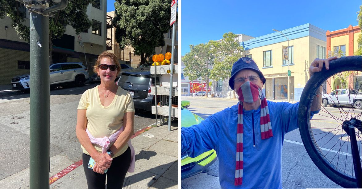 """Deb, 68, was not wearing a mask when exercising on Valencia Street on Tuesday morning. """"It feels good it's much easier to exercise especially for somebody my age."""" Eric Corbel, 57, is going to keep using his mask because he """"can contaminate others."""" Photo by Clara-Sophia Daly."""