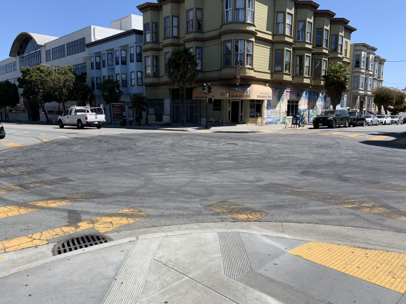 Tire marks left on 20th and Folsom. Photo by Julian Mark