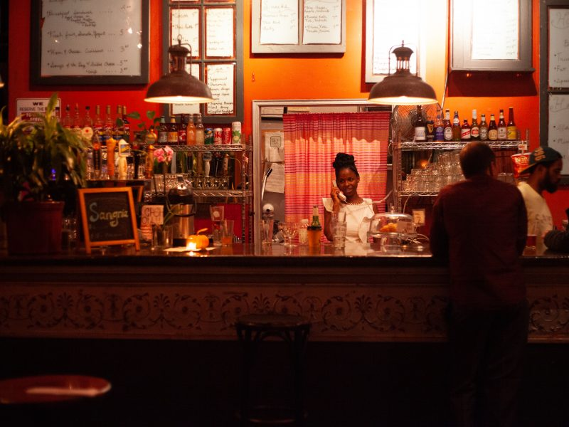 The bar of Revolution Cafe, as captured by Sanya Szabo.
