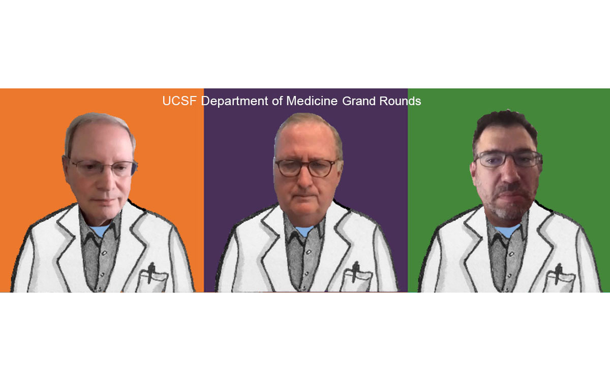 UCSF's Department of Medicine Grand Rounds on June 17, 2021 included (from top left): Bob Wachter, George Rutherford, and Andy Slavitt. Illustration by Molly Oleson; photos from screenshots of live event.