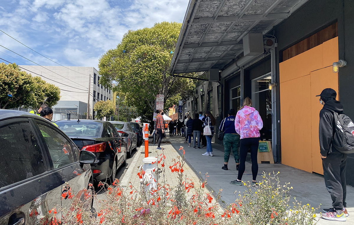 The line at the Alabama Street Hub on Thursday, July 30, 2021
