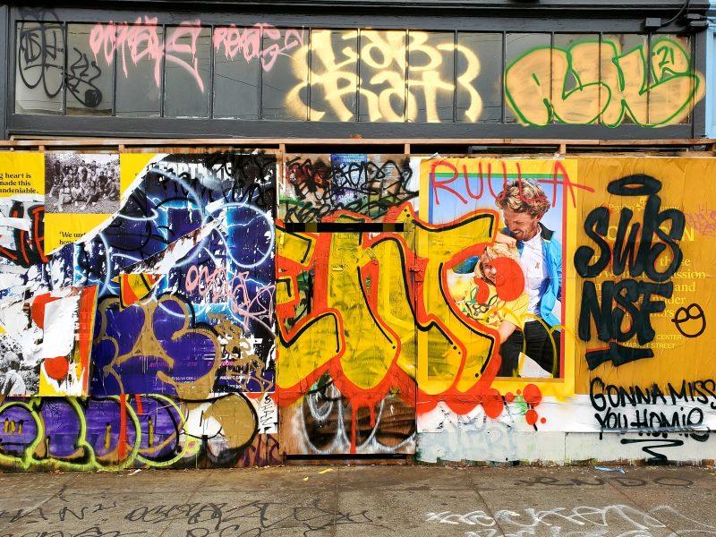 Graffiti at the former Katz Bagels