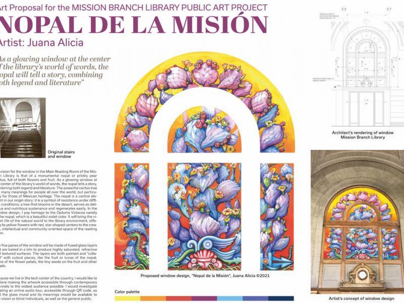Juana Alicia. Juana Alicia Araiza. Mission Library. Proposal. Glass. Design. Board.