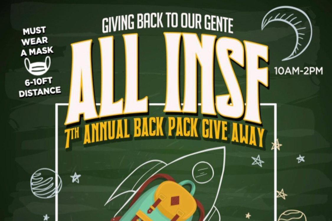 School Supplies. Backpacks. Giveaways. All in SF. Poster.