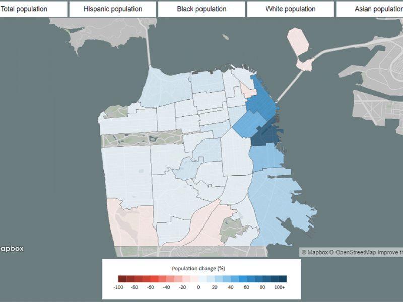Map. Population Change. San Francisco.