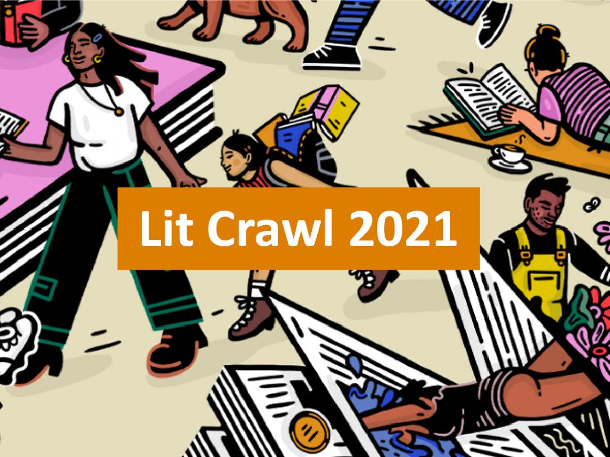 Banner image showing Lit Crawl 2021 artwork