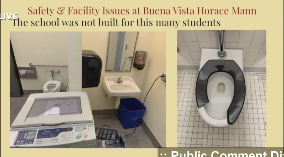 Buena Vista Horace Mann copy machine in bathroom